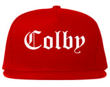 Colby Kansas KS Old English Mens Snapback Hat Red