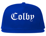 Colby Kansas KS Old English Mens Snapback Hat Royal Blue
