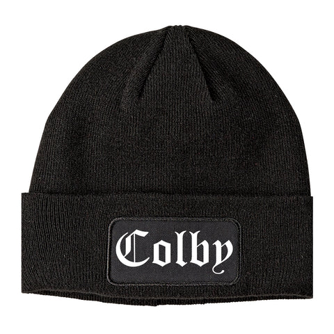 Colby Kansas KS Old English Mens Knit Beanie Hat Cap Black