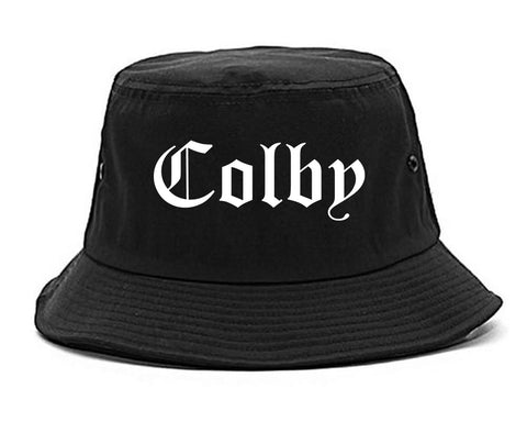 Colby Kansas KS Old English Mens Bucket Hat Black