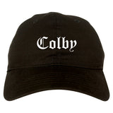 Colby Kansas KS Old English Mens Dad Hat Baseball Cap Black