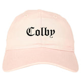 Colby Kansas KS Old English Mens Dad Hat Baseball Cap Pink