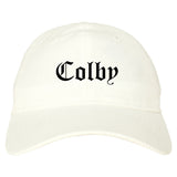 Colby Kansas KS Old English Mens Dad Hat Baseball Cap White