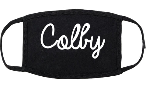 Colby Kansas KS Script Cotton Face Mask Black
