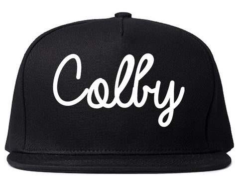 Colby Kansas KS Script Mens Snapback Hat Black