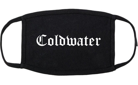 Coldwater Michigan MI Old English Cotton Face Mask Black