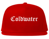 Coldwater Michigan MI Old English Mens Snapback Hat Red