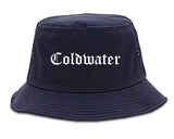 Coldwater Michigan MI Old English Mens Bucket Hat Navy Blue