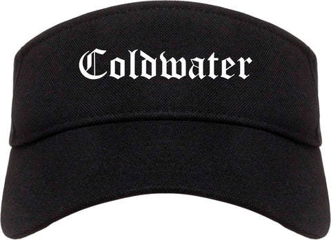 Coldwater Michigan MI Old English Mens Visor Cap Hat Black