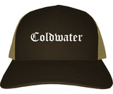 Coldwater Ohio OH Old English Mens Trucker Hat Cap Brown
