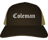 Coleman Texas TX Old English Mens Trucker Hat Cap Brown