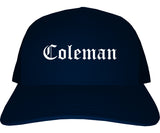 Coleman Texas TX Old English Mens Trucker Hat Cap Navy Blue