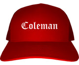 Coleman Texas TX Old English Mens Trucker Hat Cap Red