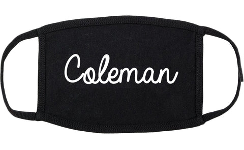 Coleman Texas TX Script Cotton Face Mask Black