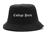 College Park Maryland MD Old English Mens Bucket Hat Black