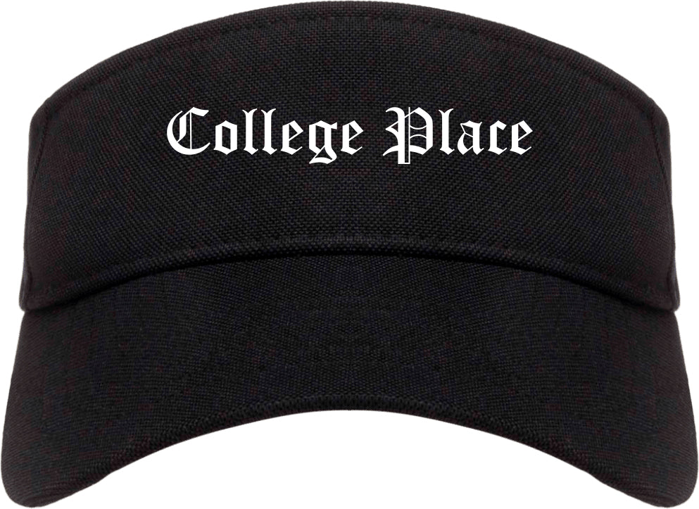 College Place Washington WA Old English Mens Visor Cap Hat Black