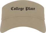 College Place Washington WA Old English Mens Visor Cap Hat Khaki