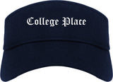 College Place Washington WA Old English Mens Visor Cap Hat Navy Blue