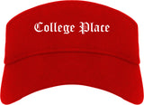 College Place Washington WA Old English Mens Visor Cap Hat Red