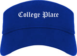 College Place Washington WA Old English Mens Visor Cap Hat Royal Blue