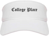 College Place Washington WA Old English Mens Visor Cap Hat White