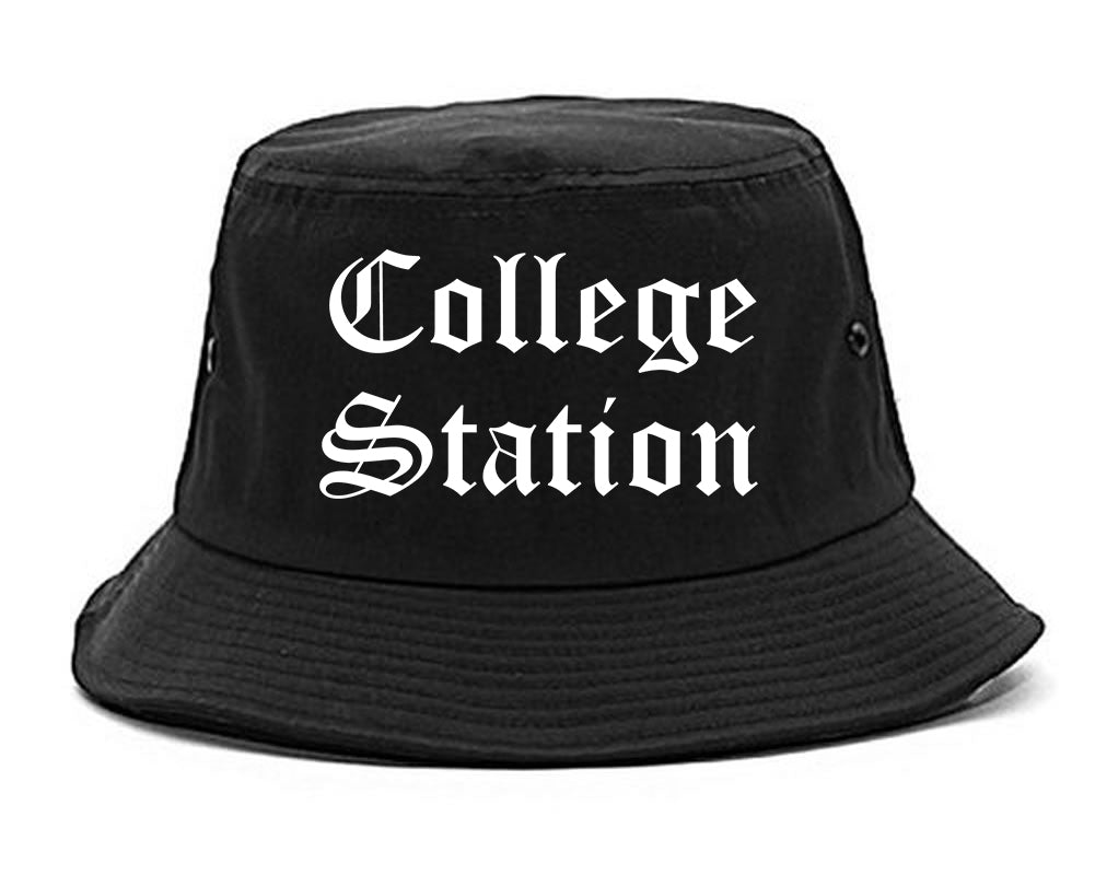 College Station Texas TX Old English Mens Bucket Hat Black