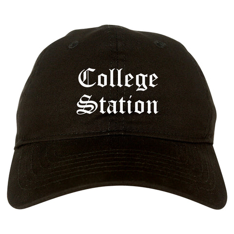 College Station Texas TX Old English Mens Dad Hat Baseball Cap Black