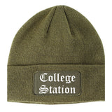 College Station Texas TX Old English Mens Knit Beanie Hat Cap Olive Green