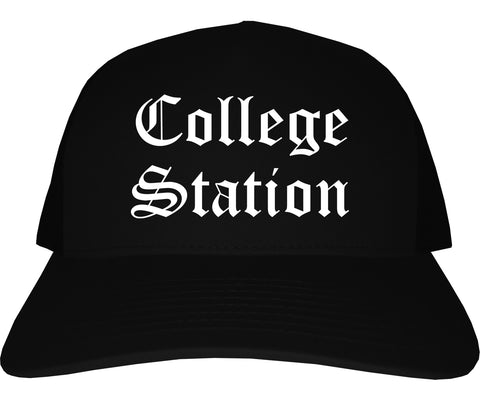 College Station Texas TX Old English Mens Trucker Hat Cap Black
