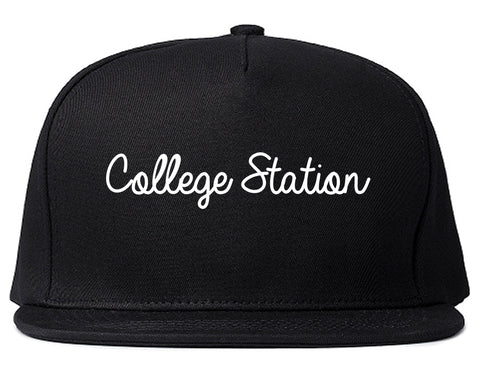 College Station Texas TX Script Mens Snapback Hat Black