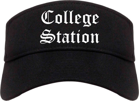 College Station Texas TX Old English Mens Visor Cap Hat Black