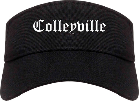 Colleyville Texas TX Old English Mens Visor Cap Hat Black