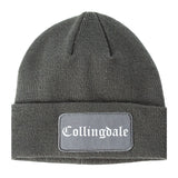 Collingdale Pennsylvania PA Old English Mens Knit Beanie Hat Cap Grey