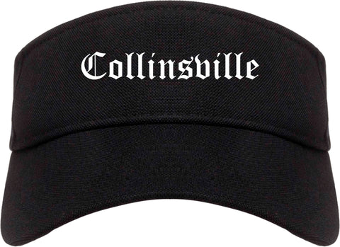 Collinsville Illinois IL Old English Mens Visor Cap Hat Black