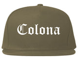 Colona Illinois IL Old English Mens Snapback Hat Grey