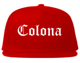 Colona Illinois IL Old English Mens Snapback Hat Red