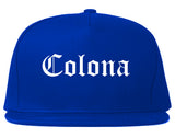 Colona Illinois IL Old English Mens Snapback Hat Royal Blue