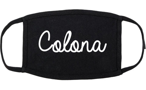 Colona Illinois IL Script Cotton Face Mask Black