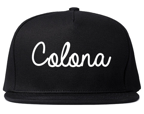 Colona Illinois IL Script Mens Snapback Hat Black