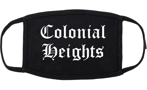 Colonial Heights Virginia VA Old English Cotton Face Mask Black