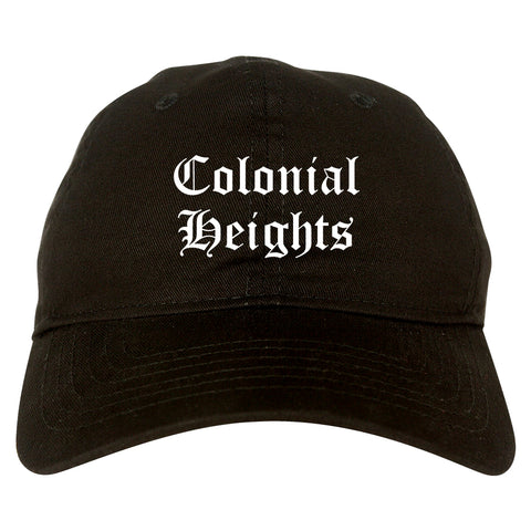 Colonial Heights Virginia VA Old English Mens Dad Hat Baseball Cap Black