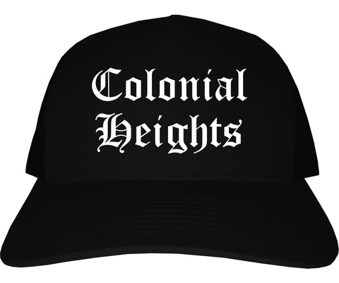 Colonial Heights Virginia VA Old English Mens Trucker Hat Cap Black