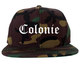 Colonie New York NY Old English Mens Snapback Hat Army Camo