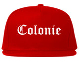 Colonie New York NY Old English Mens Snapback Hat Red