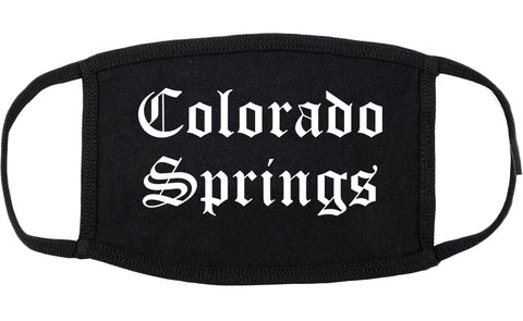 Colorado Springs Colorado CO Old English Cotton Face Mask Black