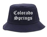 Colorado Springs Colorado CO Old English Mens Bucket Hat Navy Blue