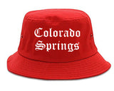 Colorado Springs Colorado CO Old English Mens Bucket Hat Red