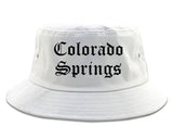 Colorado Springs Colorado CO Old English Mens Bucket Hat White