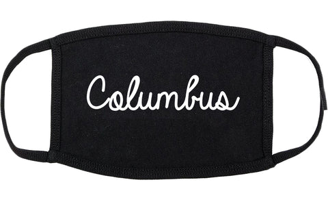 Columbus Nebraska NE Script Cotton Face Mask Black