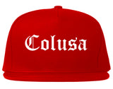 Colusa California CA Old English Mens Snapback Hat Red